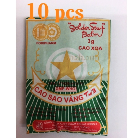 10x3g Golden Star Aromatic Balm Vietnamese Cao Sao Vang Golden Star Aromatic - Free Ship