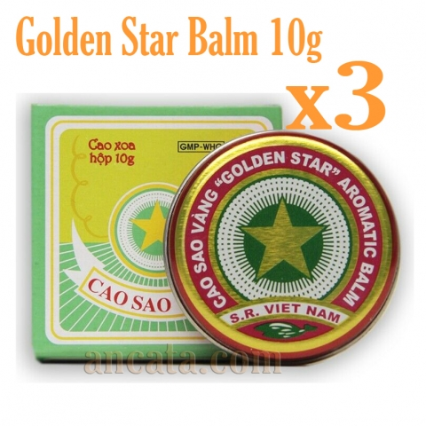 Set 03 x 10g Golden Star Aromatic Balm Vietnamese Cao Sao Vang Ointment Cream-Free Ship