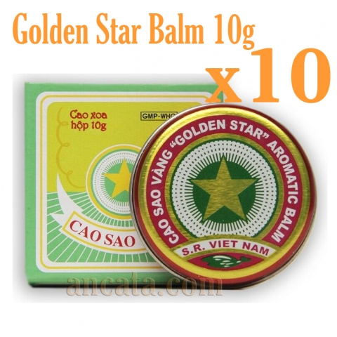 Set 10 X 10g Golden Star Aromatic Balm Vietnamese Cao Sao Vang Ointment Cream-Free Ship