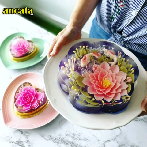 3D Gelatin Jelly Flower Mold Pudding Cake Art Needles Tools Set Peony flower