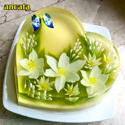 05pcs/set Lily 3D Gelatin Jelly Flower Mold Pudding Cake Art Needles Tools - Set lily flower