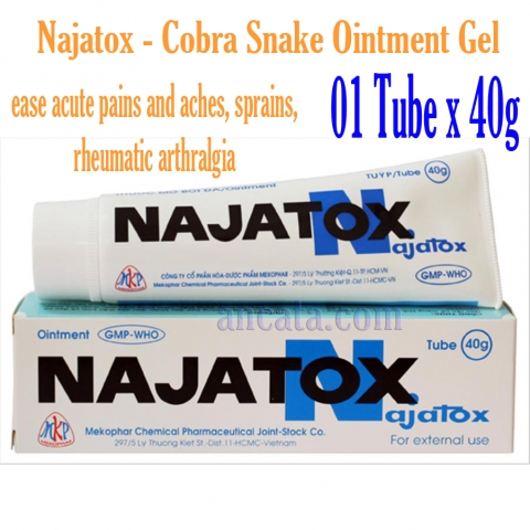 01 x 40g Najatox - Cobra Snake Ointment Gel Ointment Back, Muscle, Arthritis - Free Ship