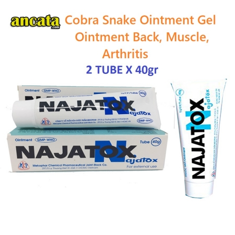 2 Tube Najatox - Cobra Snake Ointment Gel Ointment Back, Muscle, Arthritis - Free Ship