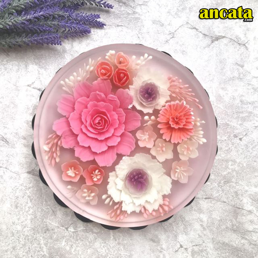 05pcs/set  3D Gelatin Jelly Flower Mold Pudding Cake Art Needles Tools - Set Peony flow